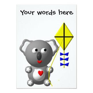Cute Koala flying a kite Custom Announcements