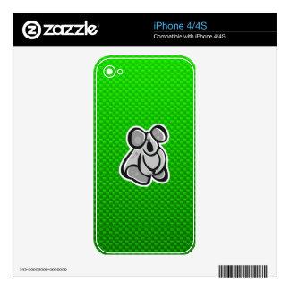 Cute Koala; Green Decal For iPhone 4
