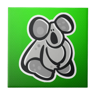 Cute Koala; Green Small Square Tile