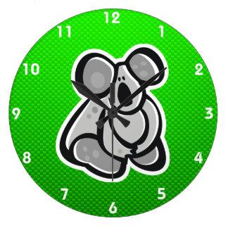 Cute Koala; Green Wall Clocks