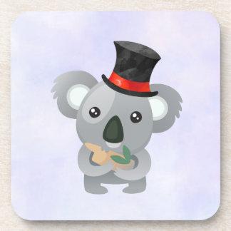 Cute Koala in a Black Top Hat Beverage Coaster