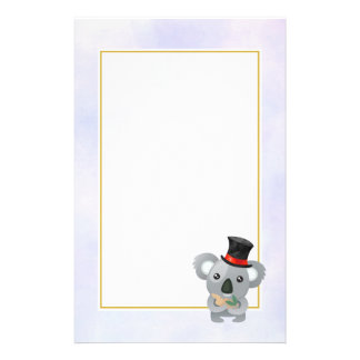 Cute Koala in a Black Top Hat Stationery