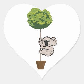 Cute Koala on the Tree Heart Sticker