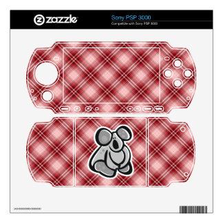 Cute Koala; Red Plaid Sony PSP 3000 Skins