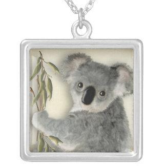 Cute Koala Square Pendant Necklace