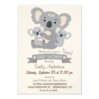 Cute Koala Twins Baby Shower Card