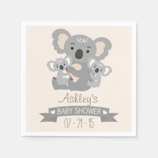 Cute Koala Twins Baby Shower Paper Napkin