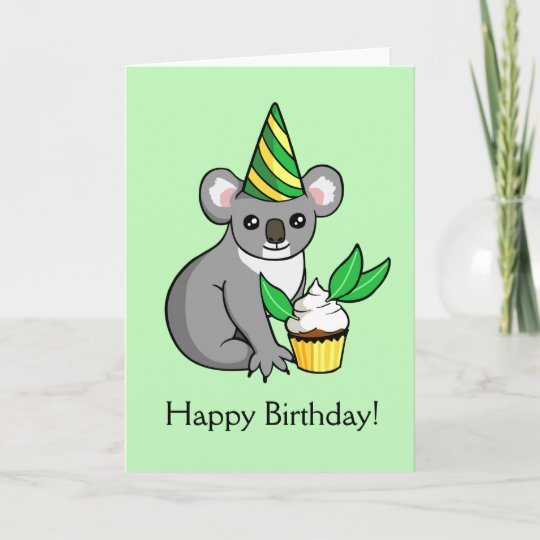 Cute Koala With Cake Drawing Happy Birthday Card Zazzle