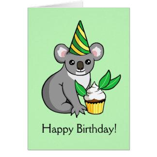 Australia koala greeting cards zazzle cute koala with cake drawing happy birthday card m4hsunfo