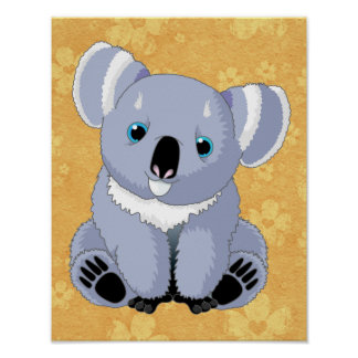 Cute Koala with Floral Background Poster