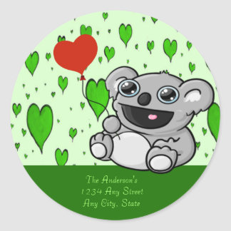 Cute Koala with Red Heart Balloon Classic Round Sticker