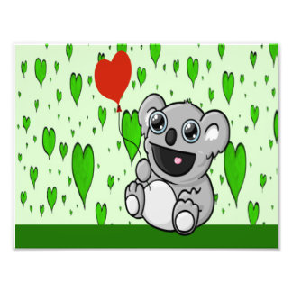 Cute Koala with Red Heart Balloon Photograph
