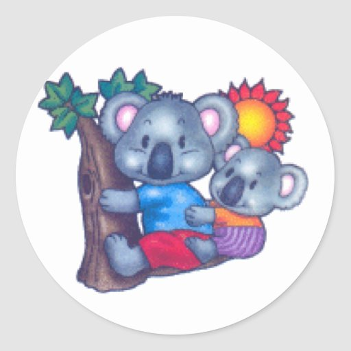 Cute Koalas Classic Round Sticker