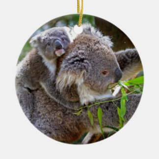 Cute Koalas Double-Sided Ceramic Round Christmas Ornament