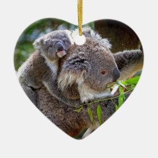 Cute Koalas Double-Sided Heart Ceramic Christmas Ornament