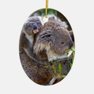 Cute Koalas Double-Sided Oval Ceramic Christmas Ornament