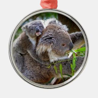 Cute Koalas Round Metal Christmas Ornament