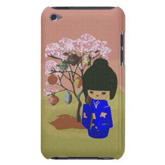 Cute kokeshi Doll with cherry blossom tree Barely There iPod Cover