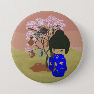 Cute kokeshi Doll with cherry blossom tree Button