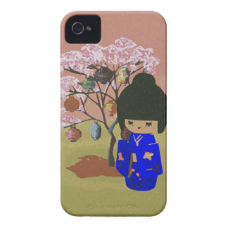 Cute kokeshi Doll with cherry blossom tree iPhone 4 Case-Mate Case