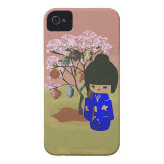 Cute kokeshi Doll with cherry blossom tree iPhone 4 Covers