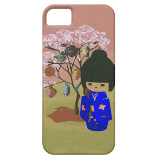 Cute kokeshi Doll with cherry blossom tree iPhone 5 Covers