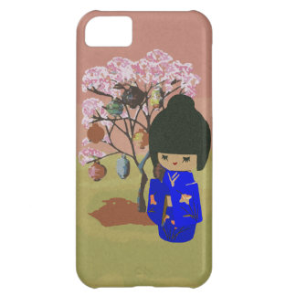 Cute kokeshi Doll with cherry blossom tree iPhone 5C Cases
