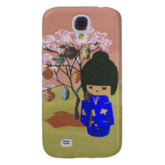 Cute kokeshi Doll with cherry blossom tree Samsung Galaxy S4 Cover