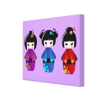 Cute kokeshi dolls cartoon canvas print