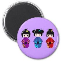 Cute kokeshi dolls cartoon magnet