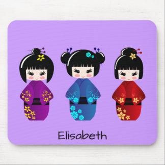 Cute kokeshi dolls cartoon name mouse pad