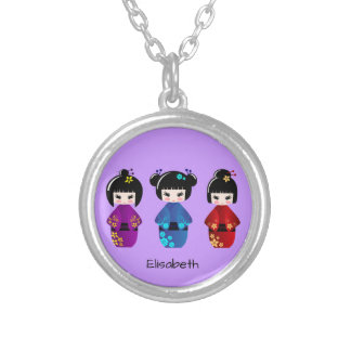 Cute kokeshi dolls cartoon name silver plated necklace
