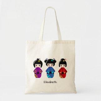 Cute kokeshi dolls cartoon name tote bag