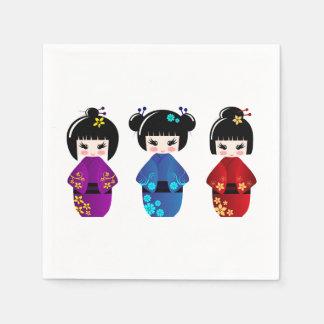 Cute kokeshi dolls cartoon paper napkin