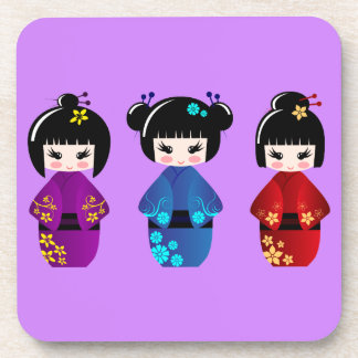 Cute kokeshi dolls cartoon purple drink coaster