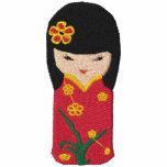 Cute Kokeshi Red dress doll Embroidery Hoodie
