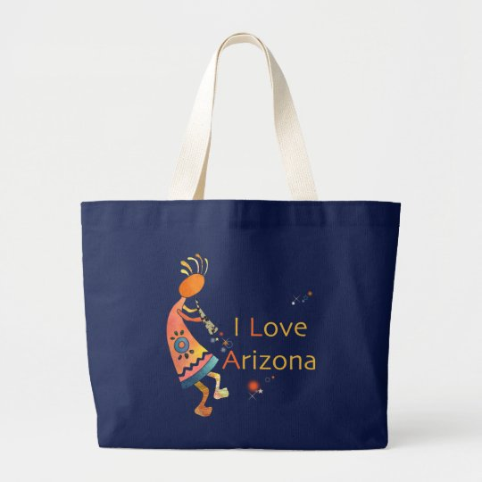 Cute Kokopelli: I Love Arizona Large Tote Bag