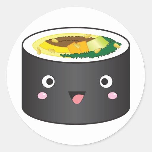 Cute Korean Gimbap Round Sticker