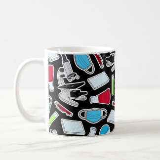 Cute Lab Pattern Black Background Coffee Mug