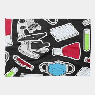 Cute Lab Pattern Black Background Hand Towel