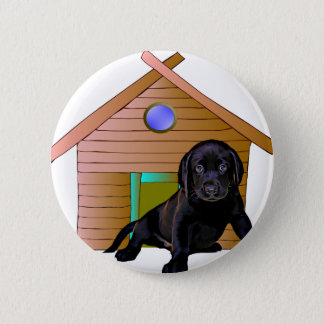 Cute Labrador at kennel Pinback Button
