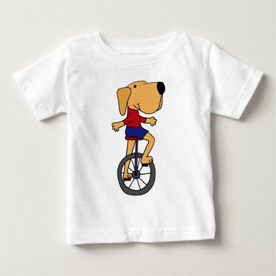 Cute Labrador Dog Riding Unicycle Cartoon Baby T-Shirt