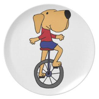 Cute Labrador Dog Riding Unicycle Cartoon Dinner Plates