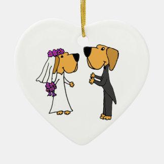 Cute Labrador Retriever Bride and Groom Ceramic Ornament