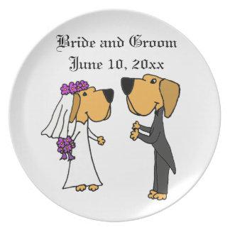 Cute Labrador Retriever Bride and Groom Party Plate