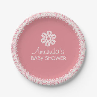 Cute Lace & Flower Pink Baby Shower 7 Inch Paper Plate