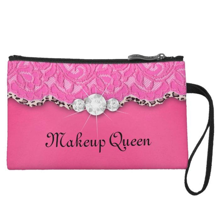 Cute Lace Makeup Purse Floral Pink Leopard Jewelry