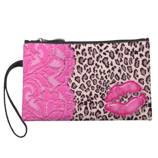 Cute Lace Makeup Purse Pink Leopard Lips