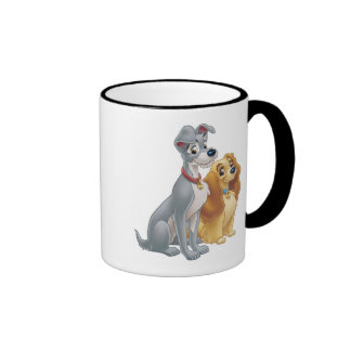 Cute Lady and the Tramp Disney Ringer Coffee Mug