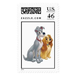 Cute Lady and the Tramp Disney Stamp
